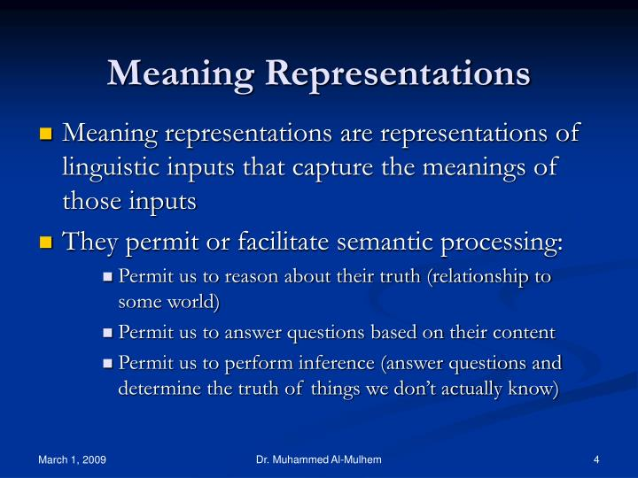 Meaning Representations