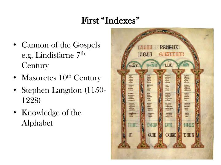 "First ""Indexes"""