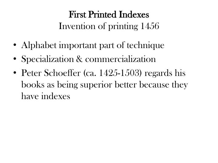 First Printed Indexes