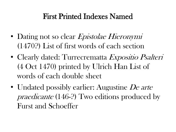 First Printed Indexes Named