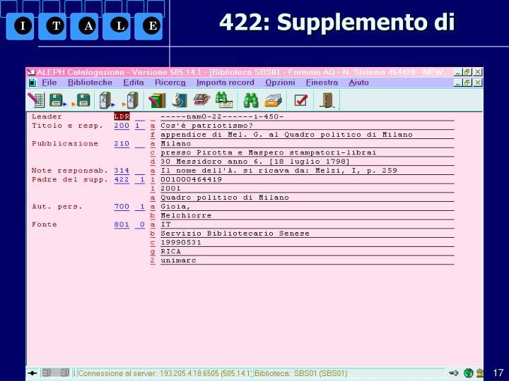 422: Supplemento di