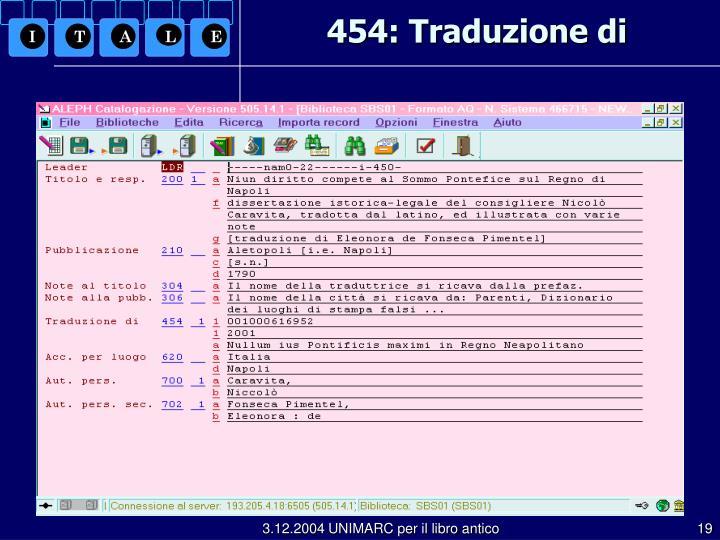 454: Traduzione di