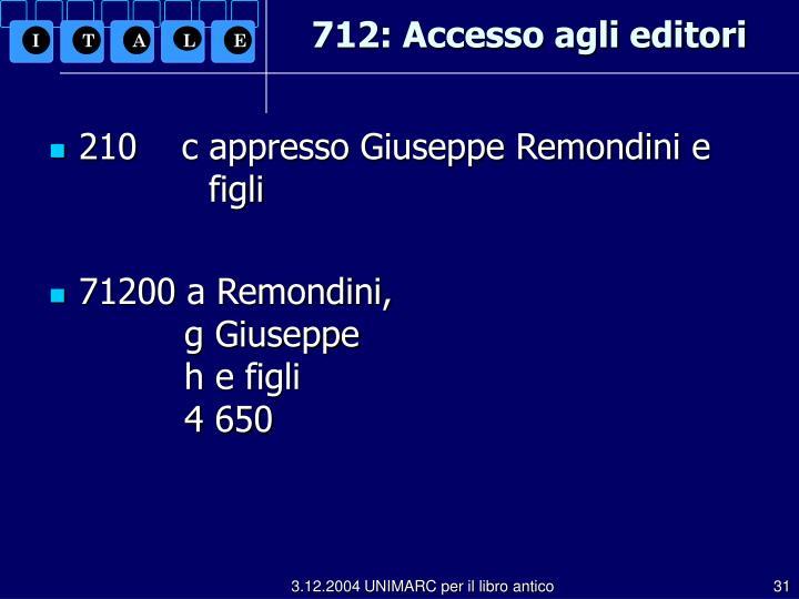 712: Accesso agli editori