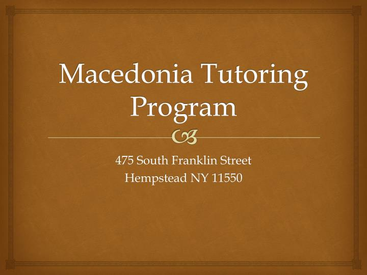 Macedonia Tutoring Program