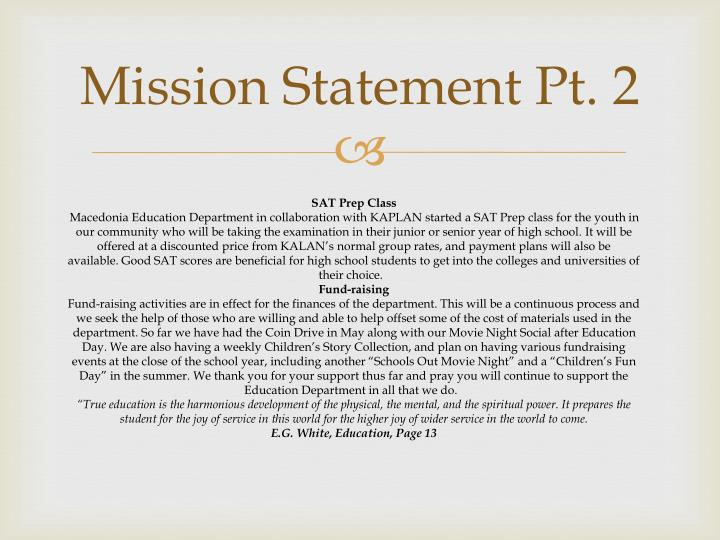 Mission Statement Pt. 2