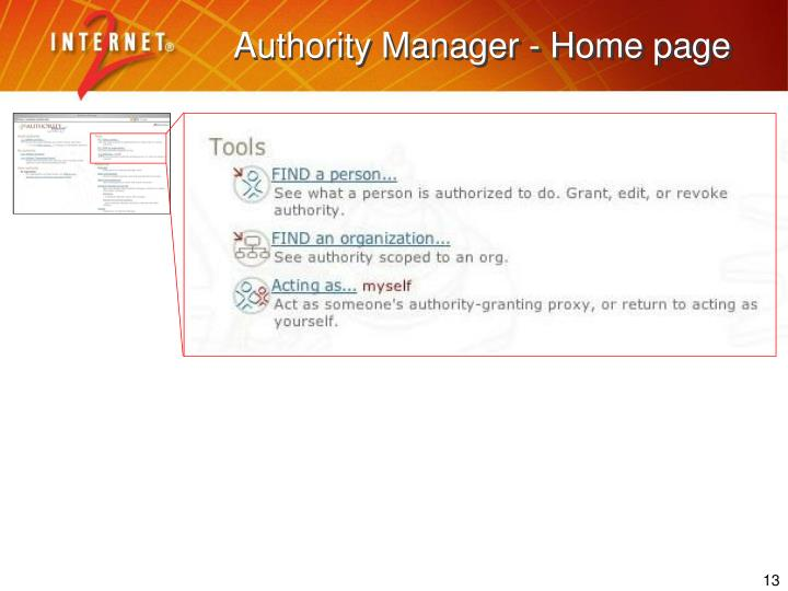 Authority Manager - Home page