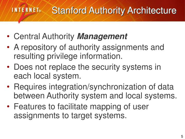 Stanford Authority Architecture