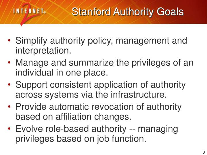 Stanford authority goals