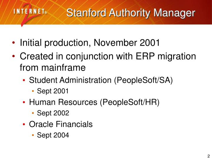 Stanford authority manager