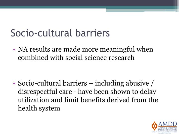 Socio-cultural barriers