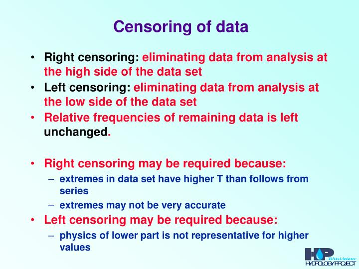 Censoring of data