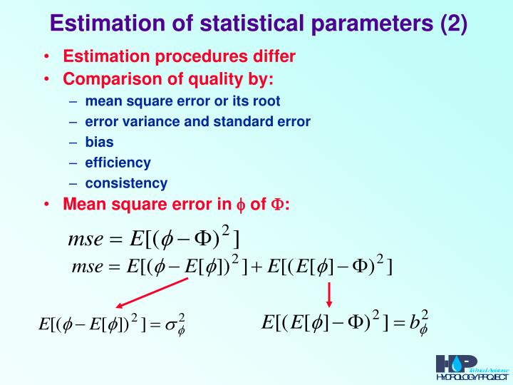 Estimation of statistical parameters (2)