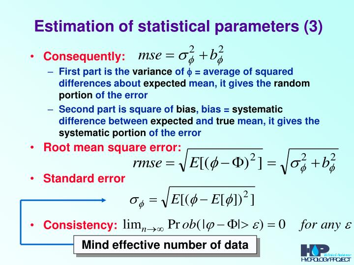 Estimation of statistical parameters (3)