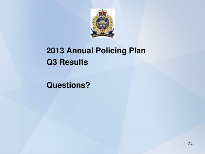2013 Annual Policing Plan