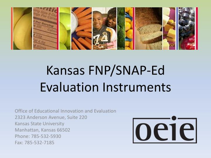 Kansas FNP/SNAP-Ed Evaluation Instruments