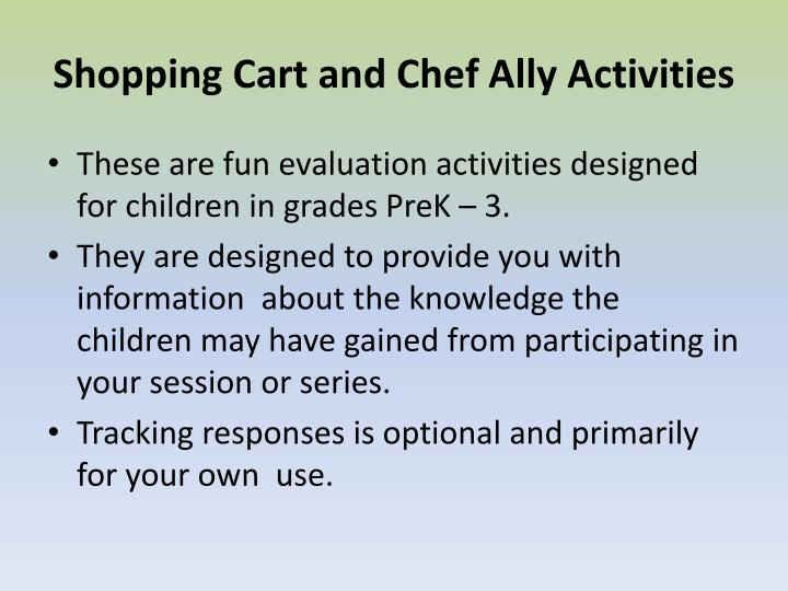 Shopping Cart and Chef Ally Activities