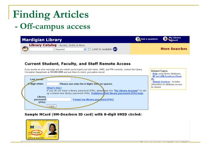Finding articles off campus access