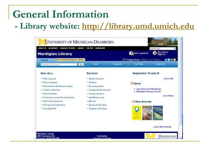 General information library website http library umd umich edu
