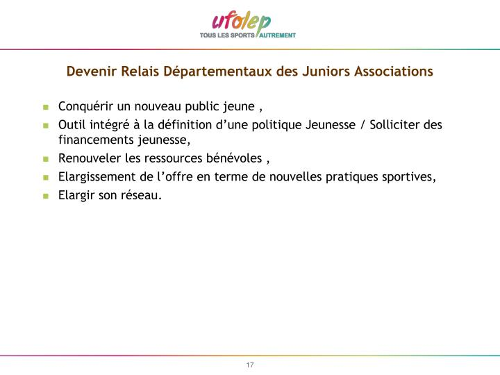 Devenir Relais Départementaux des Juniors Associations