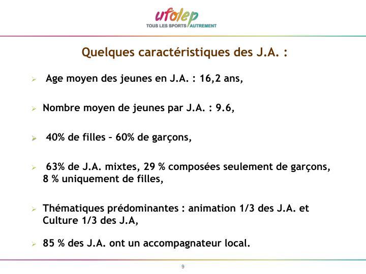 Quelques caractéristiques des J.A. :