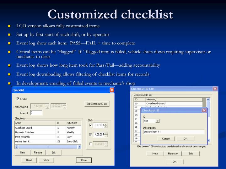 Customized checklist