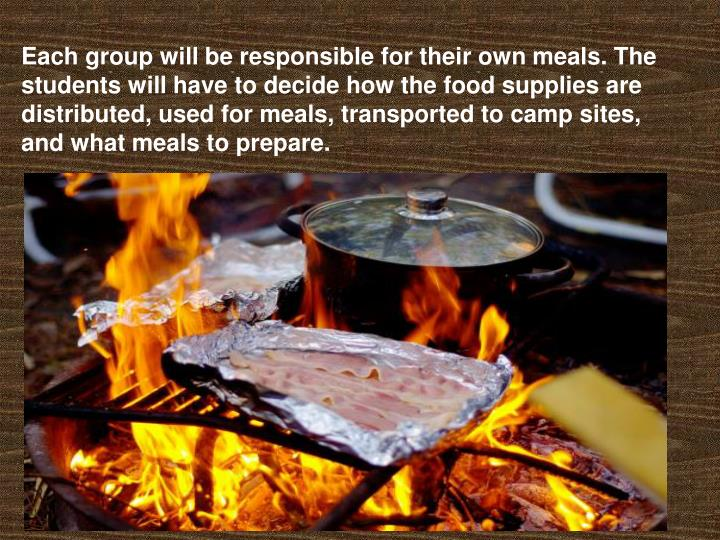 Each group will be responsible for their own meals. The students will have to decide how the food supplies