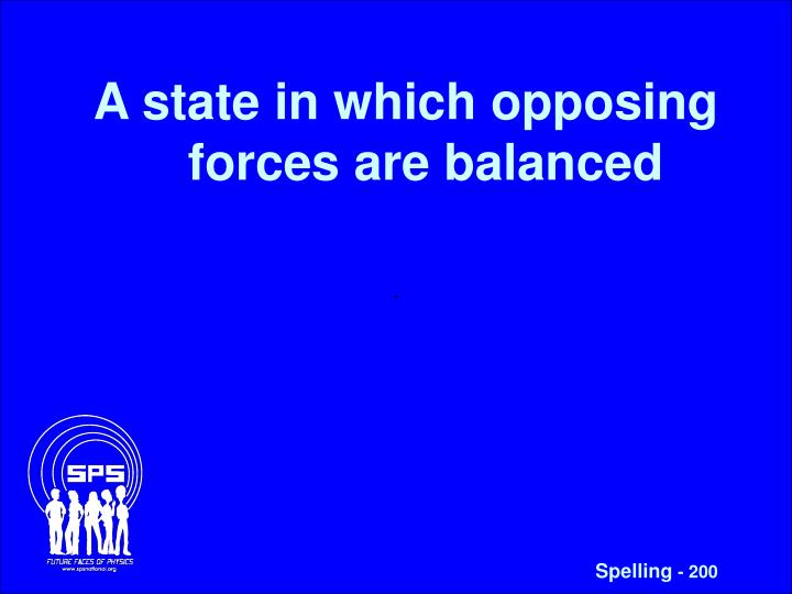 A state in which opposing forces are balanced