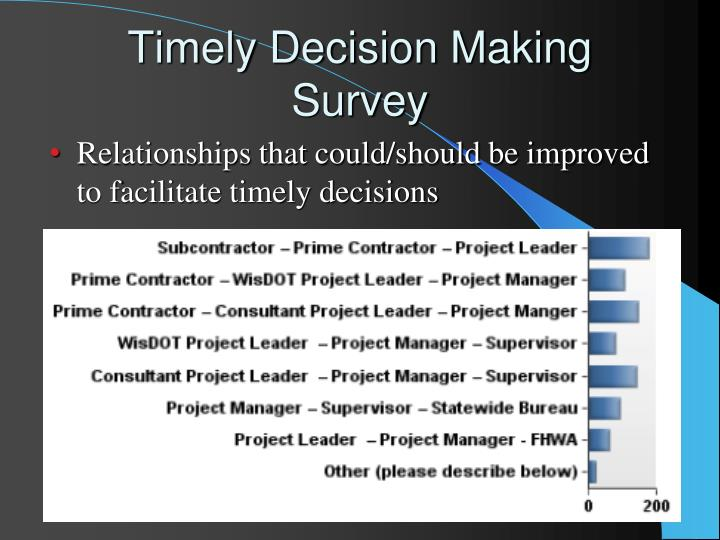 Relationships that could/should be improved to facilitate timely decisions