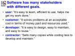 software has many stakeholders with different goals