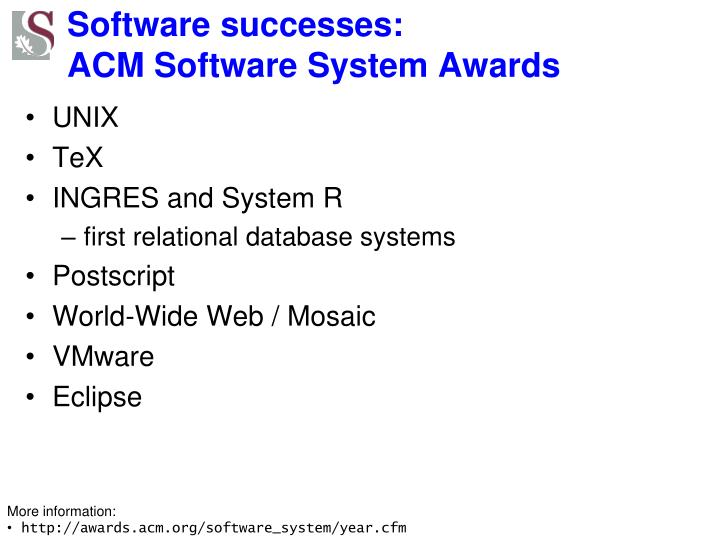 Software successes: