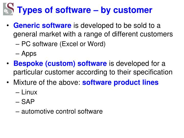 Types of software – by customer