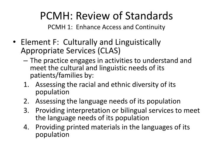 PCMH: Review of Standards