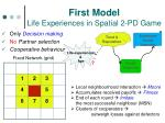 first model life experiences in spatial 2 pd game