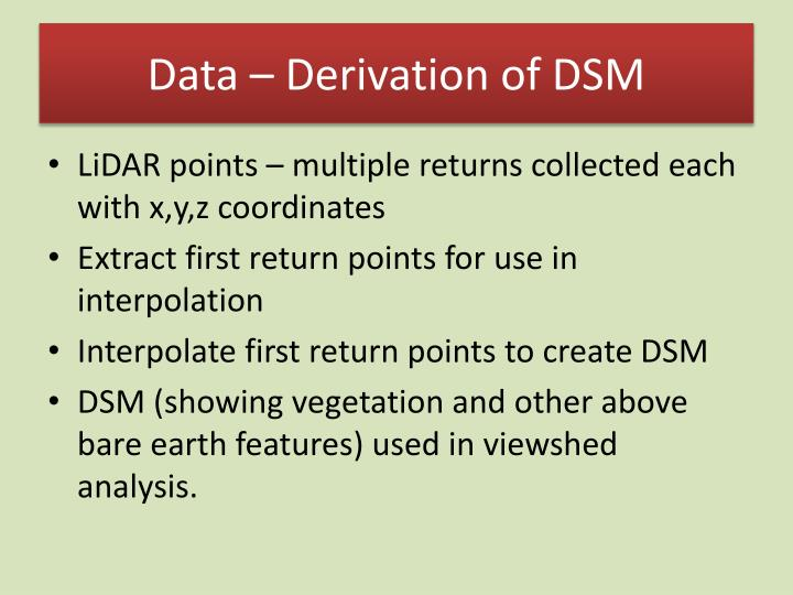 Data – Derivation of DSM
