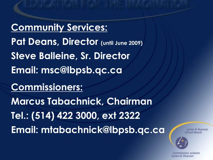 Community Services: