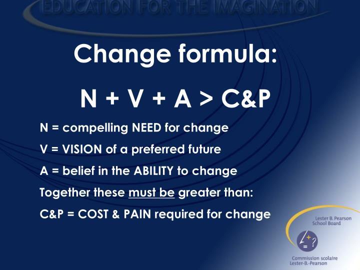 Change formula: