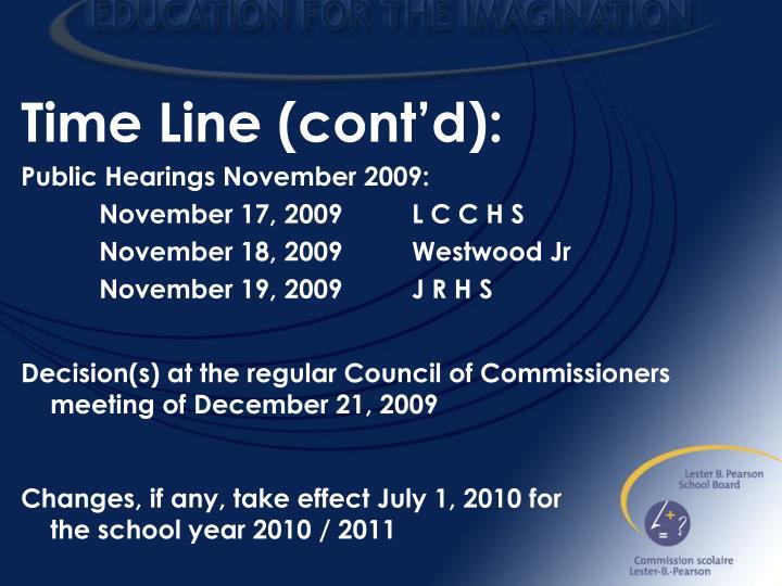 Time Line (cont'd):
