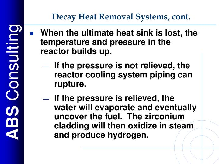Decay Heat Removal Systems, cont.