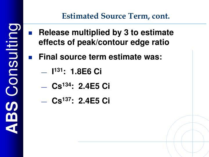 Estimated Source Term, cont.