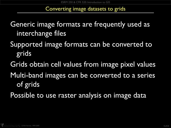 Converting image datasets to grids