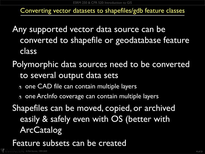 Converting vector datasets to shapefiles/gdb feature classes