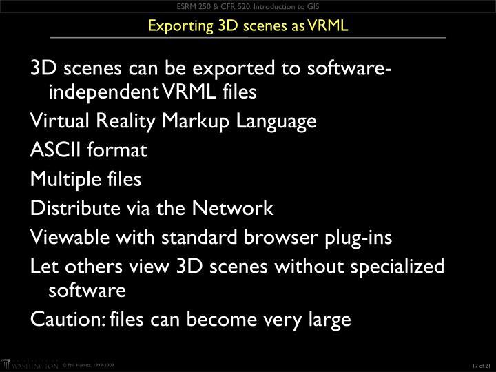 Exporting 3D scenes as VRML
