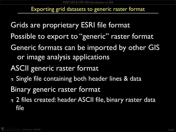 Exporting grid datasets to generic raster format