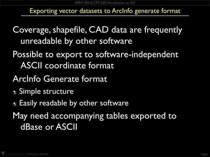Exporting vector datasets to ArcInfo generate format