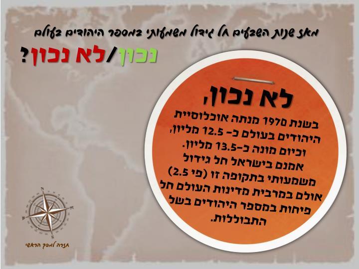 מאז שנות השבעים חל גידול משמעותי במספר היהודים בעולם