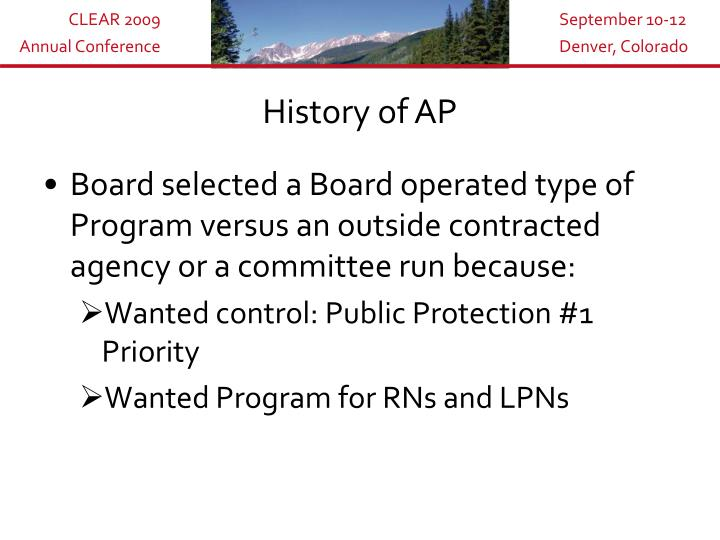 History of AP