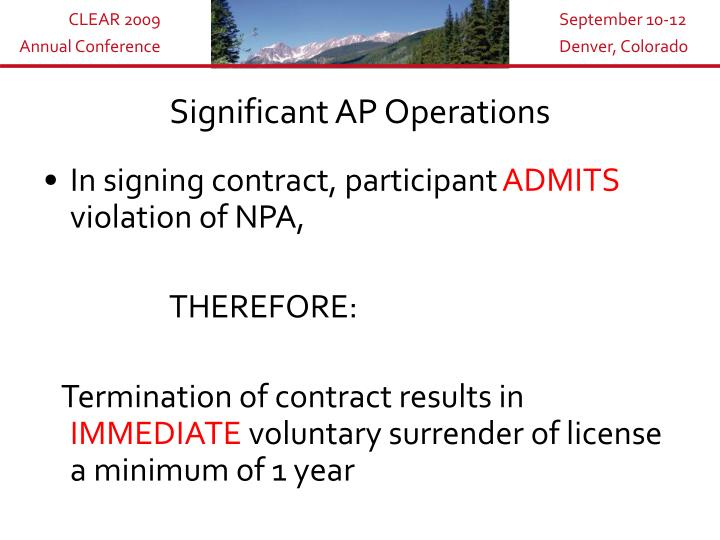 Significant AP Operations