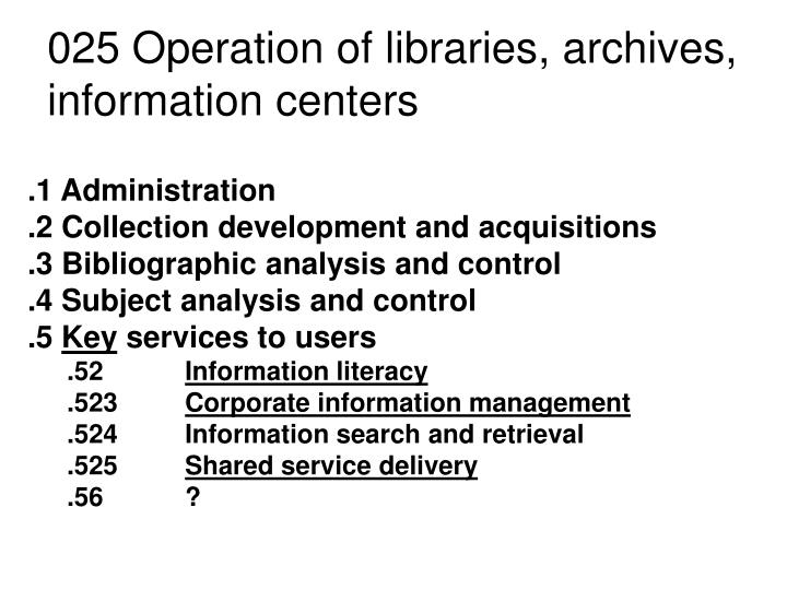 025 Operation of libraries, archives, information centers