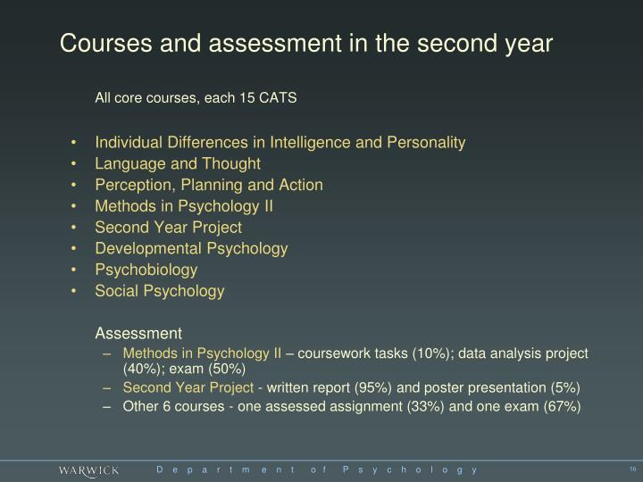 Courses and assessment in the second year