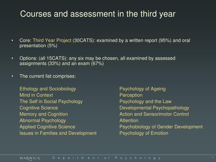 Courses and assessment in the third year